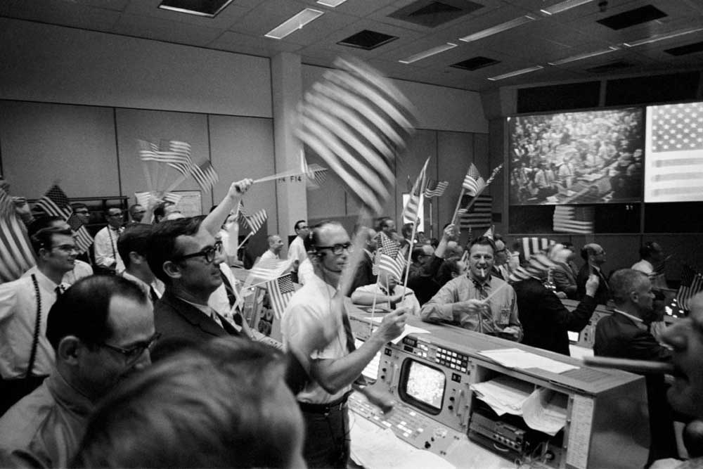 Mission Control team of the Apollo 11 celebrating the success of the mission, 1969 (Image: NASA)