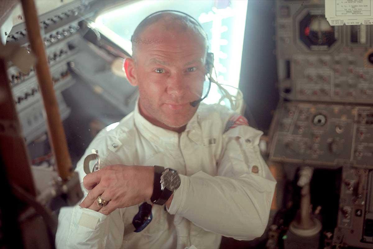 Buzz Aldrin, pictured with his beloved speedmaster on-wrist