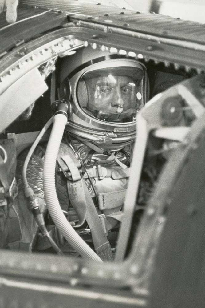 Alan B. Shepard, Jr., seated in the cockpit of Freedom 7 before launch, 5 May 1961 (Photo: NASA)