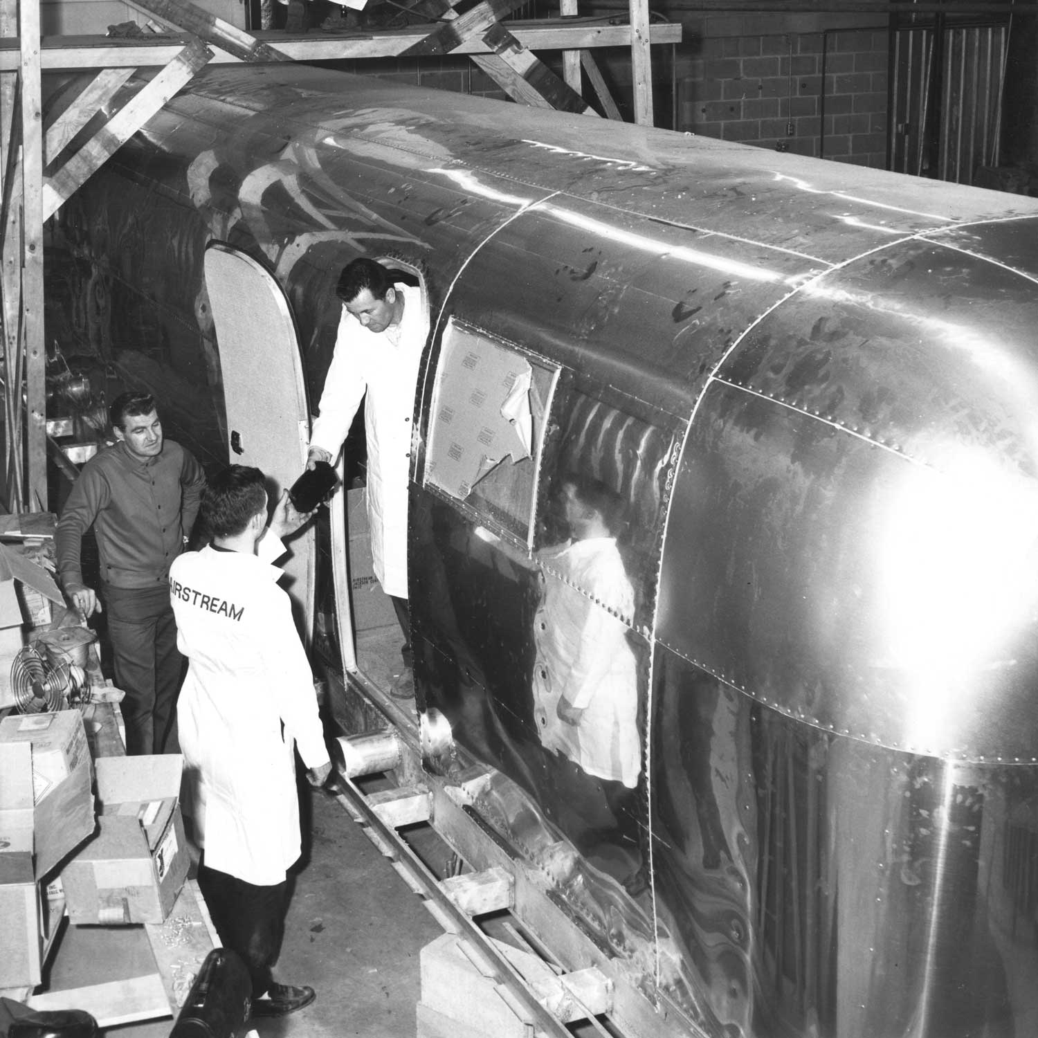 A rare look of the MQF during its construction in the Airstream Ohio plant just 15 miles from Neil Armstrong's birthplace. The key modifications included redundant systems for ventilation, power, air, plumbing and its foundation frame, which had to be modified to be carried and secured to its transportation vehicles. (Image: Reproduced with permission by Airstream, Inc.)