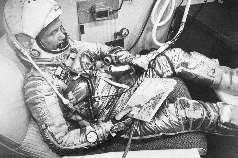 John Glenn onboard Friendship 7