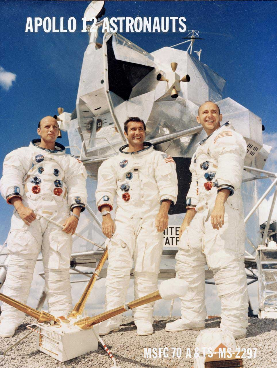 The crew of the Apollo 12 spaceflight, pictured left to right: Charles Conrad Jr., Richard F. Gordon Jr. and Alan L. Bean