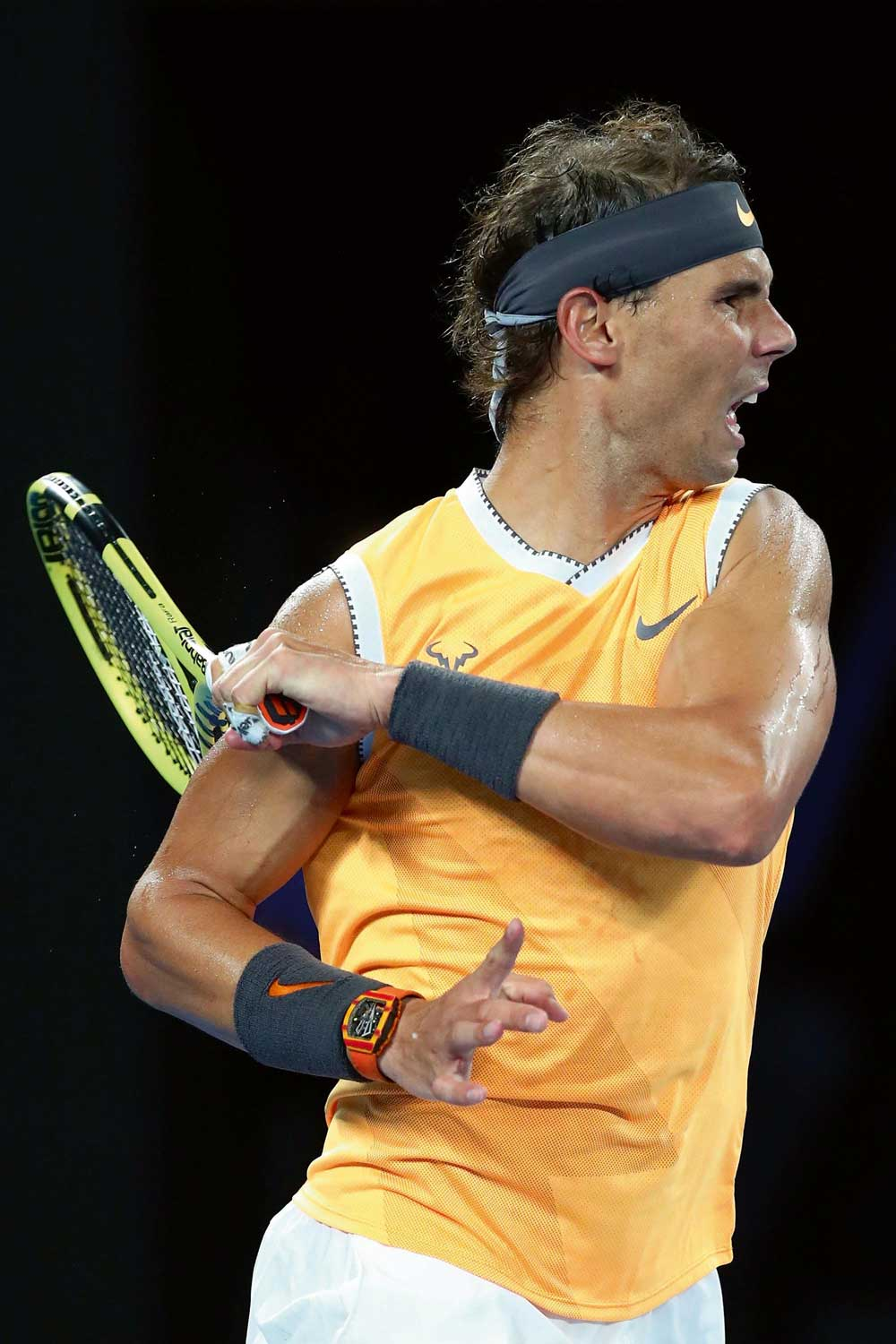 Rafael Nadal wearing his Richard Mille watch during competition