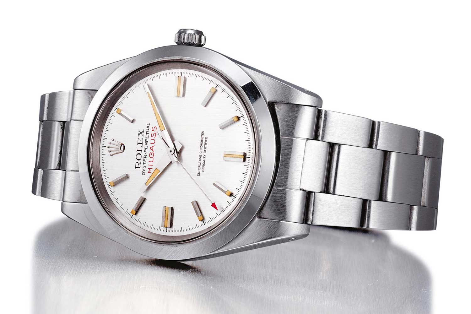 Rolex Milgauss Ref. 1019 with regular production silver dial (Image: Christie's)