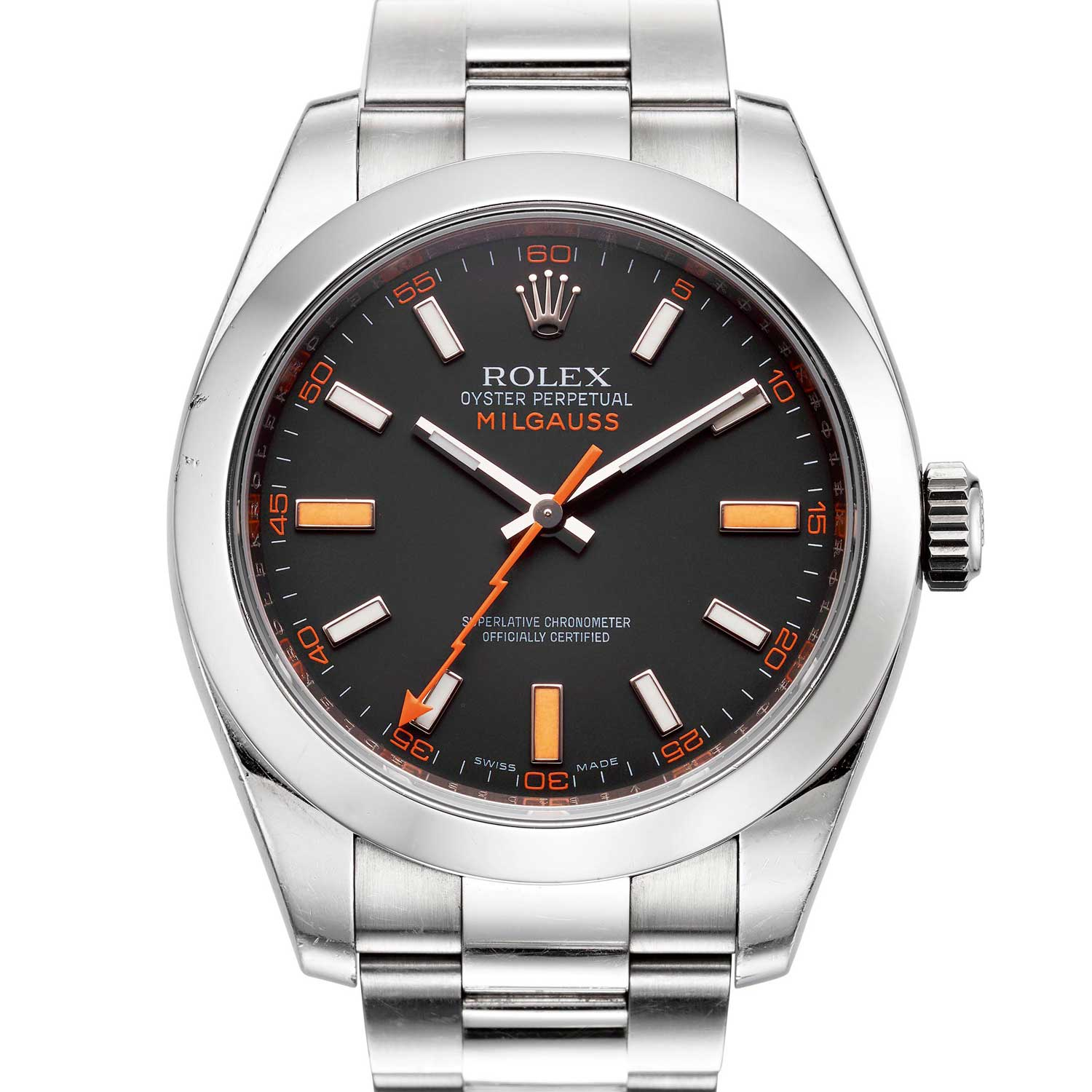 Rolex Milgauss Ref. 116400 with regular production black dial (Image: Christie's)