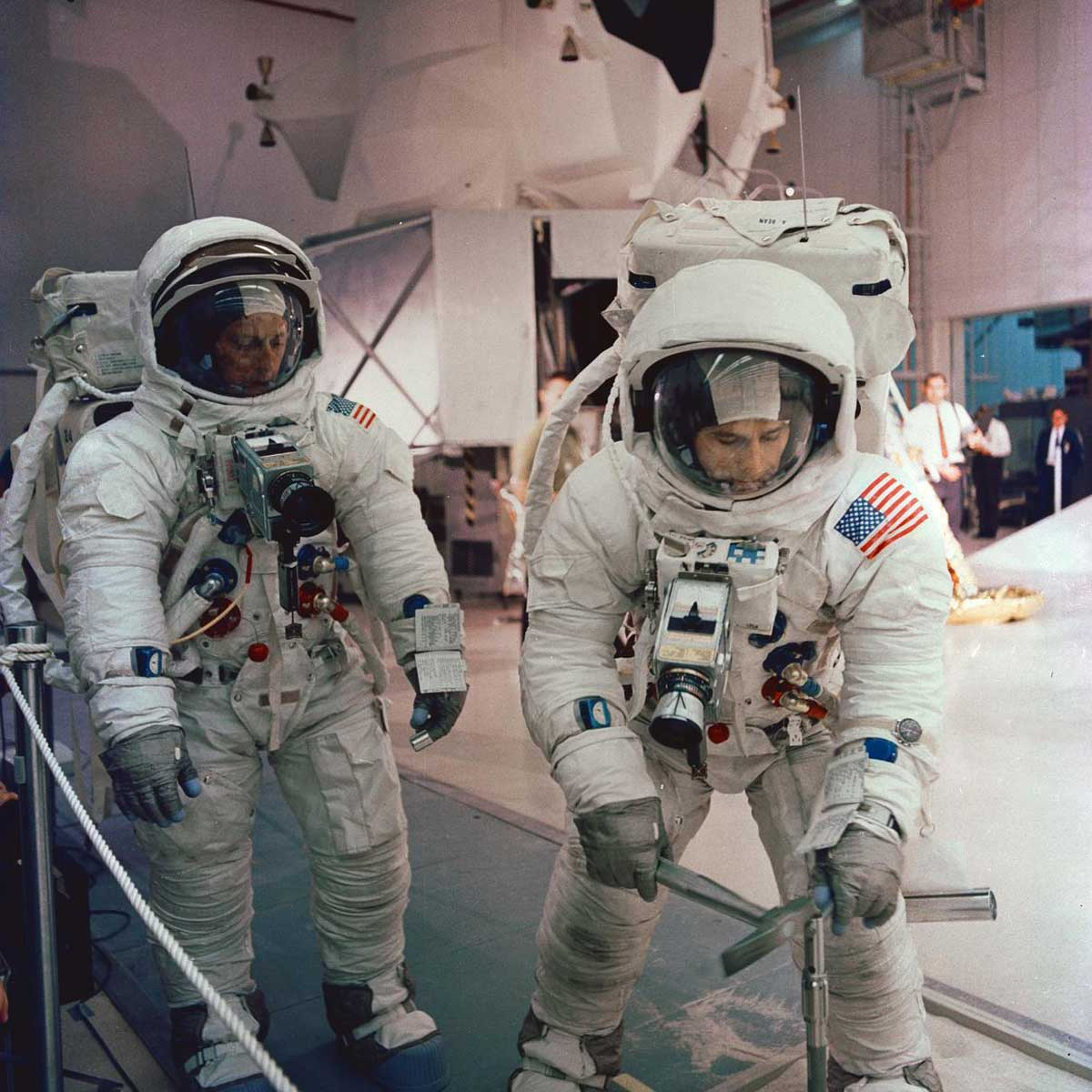 Gordon (left) and Bean (right) during training for the Apollo 12 mission. Speedmaster in view on his wrist