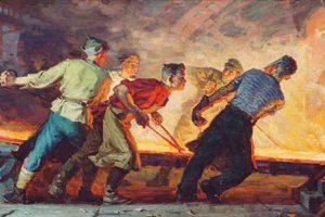 Art: Socialist Realism. 'Young Steel Workers' by Ivan Bevzenko, 1961