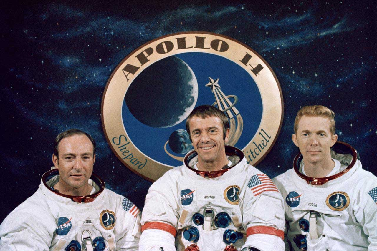 The crew of the Apollo 14 spaceflight, pictured left to right: Edgar Mitchell, Alan Shepard and Stuart Roosa