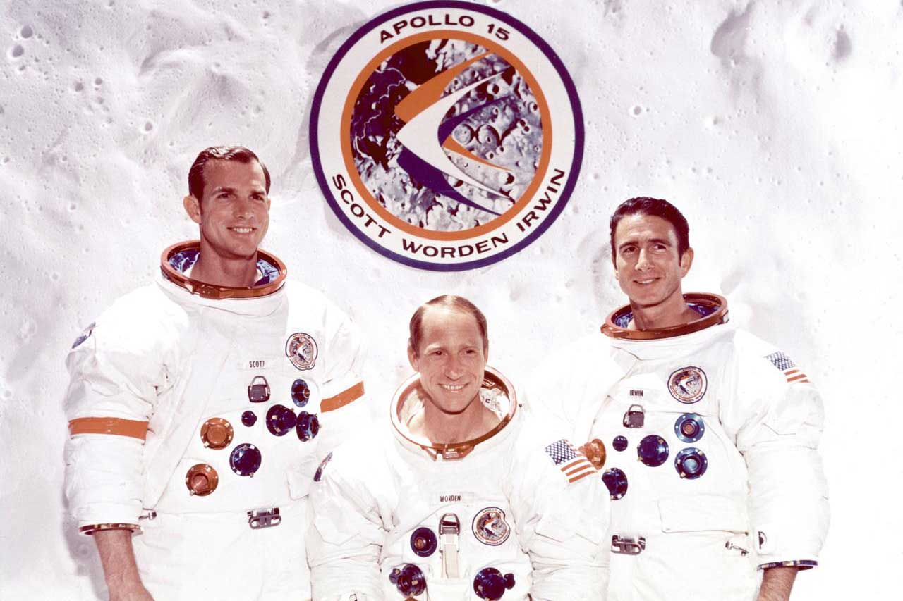 The crew of the Apollo 15 spaceflight, pictured left to right: David R. Scott, Alfred M. Worden Jr and James B. Irwin