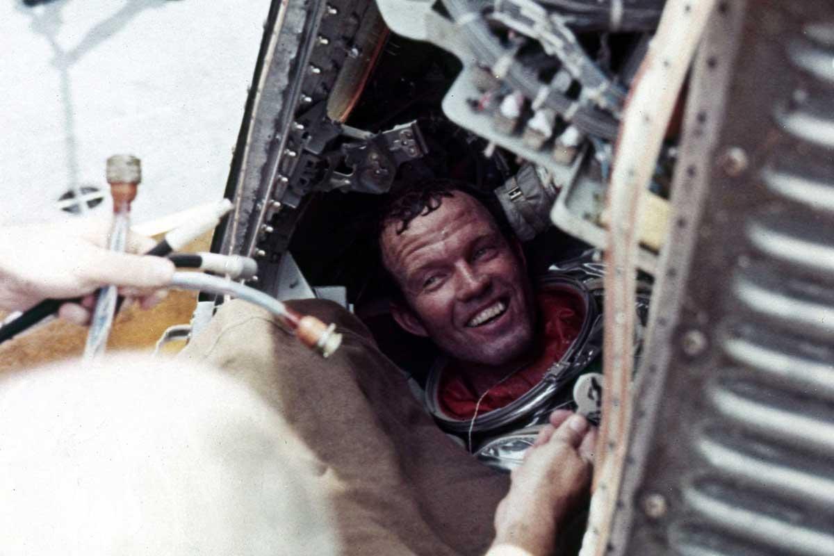 Gordon Cooper, after splashing down on the Faith 7 Mercury spacecraft May 16, 1963 (Photo: NASA)