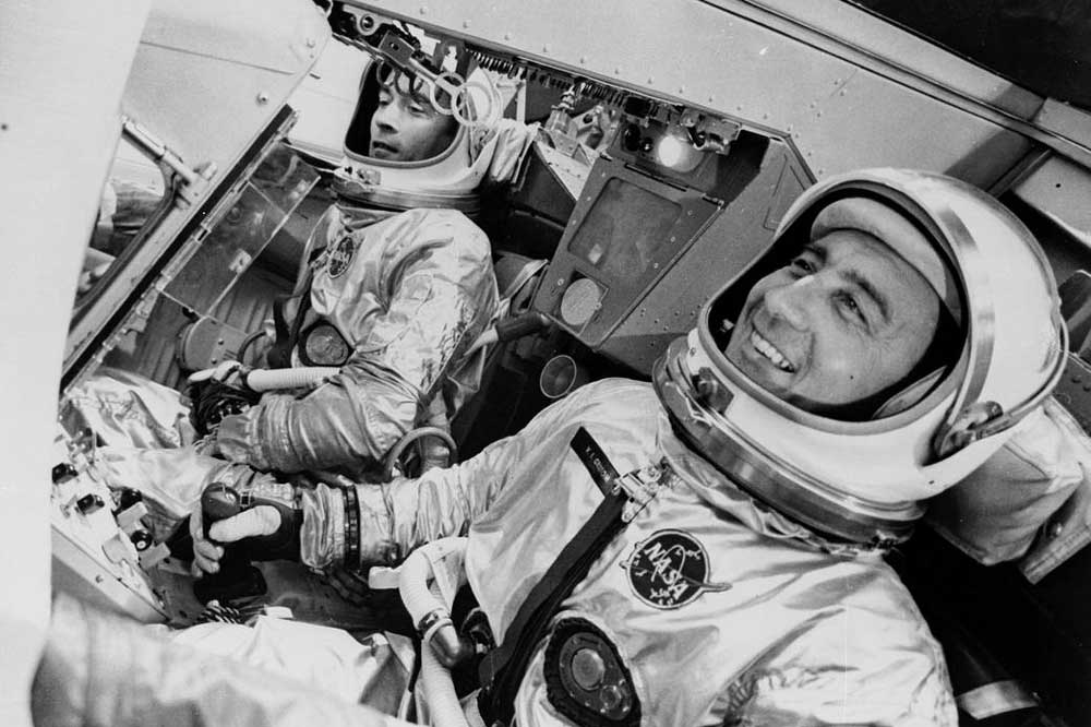 """Virgil I. """"Gus"""" Grissom and John W. Young on the Gemini III, March 23, 1965 (Photo: NASA)"""