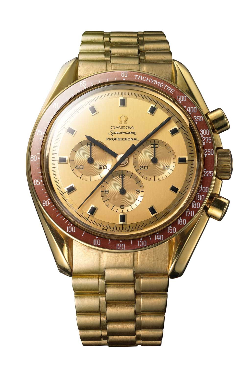 Gold models of the Speedmaster created in 1969 to commemorate the achievements of the Apollo 11 crew. This particular model is engraved for Spiro Agnew, then Vice-President of the United States