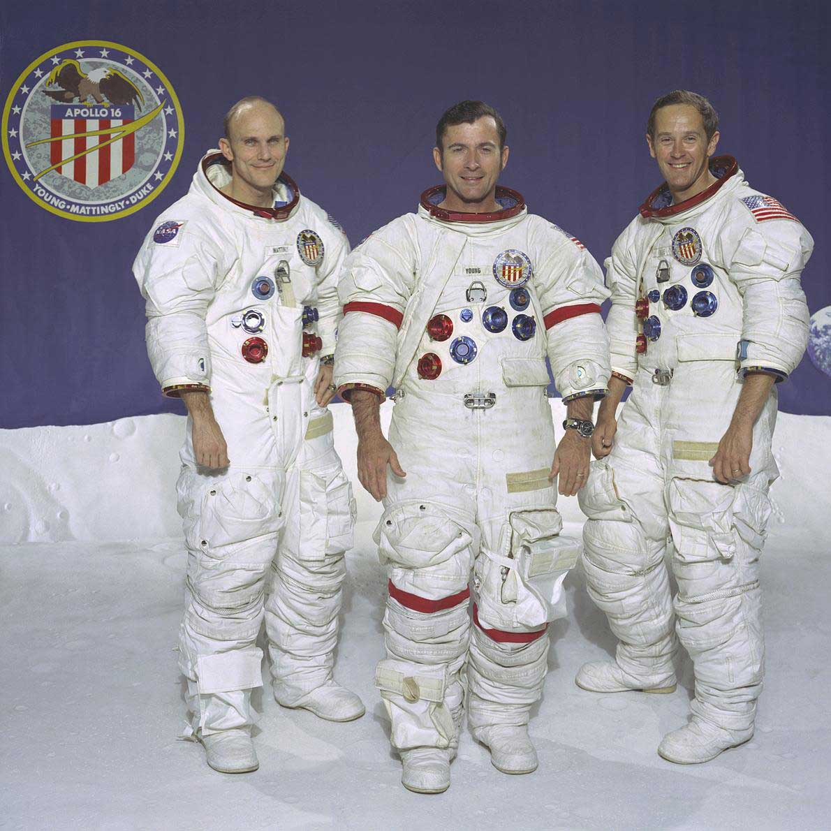 The crew of the Apollo 16 spaceflight pictured from left to right: Thomas K. Mattingly II, John W. Young, and Charles M. Duke Jr.