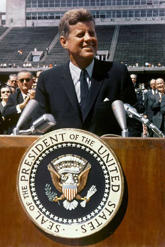 "President Kennedy speaking at Rice University on 12 September 1962, ""We choose to go to the Moon."""