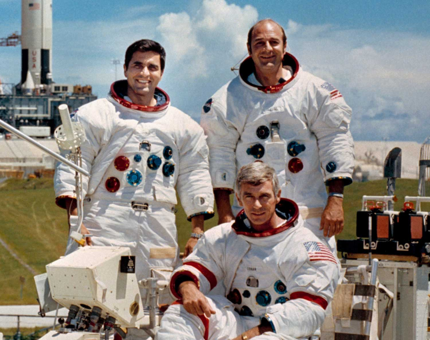 The crew of the Apollo 17 spaceflight, the last of the program. Pictured left to right are: Harrison H. Schmitt, Eugene A. Cernan (seated) and Ronald E. Evans