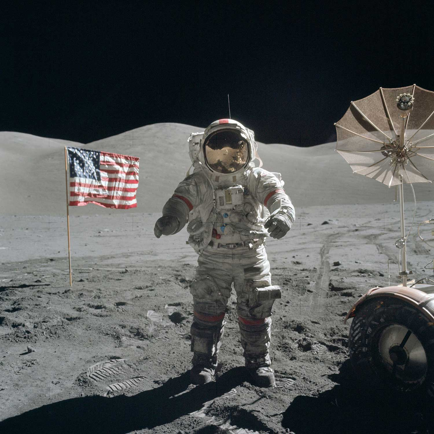 Cernan pictured next to the American flag. He was the last man to set foot on the Lunar surface
