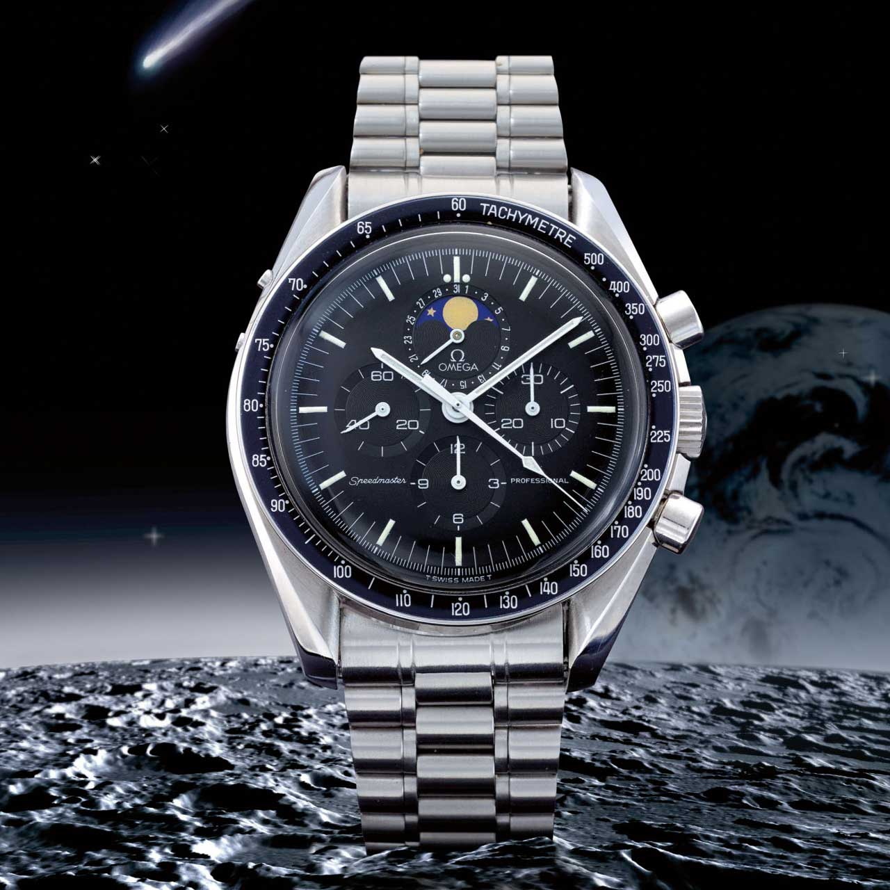 Lot 45: Speedmaster ref. 345.0809 'Red Dot Speedymoon', stainless steel chronograph with moon phases and bracelet, circa 1986