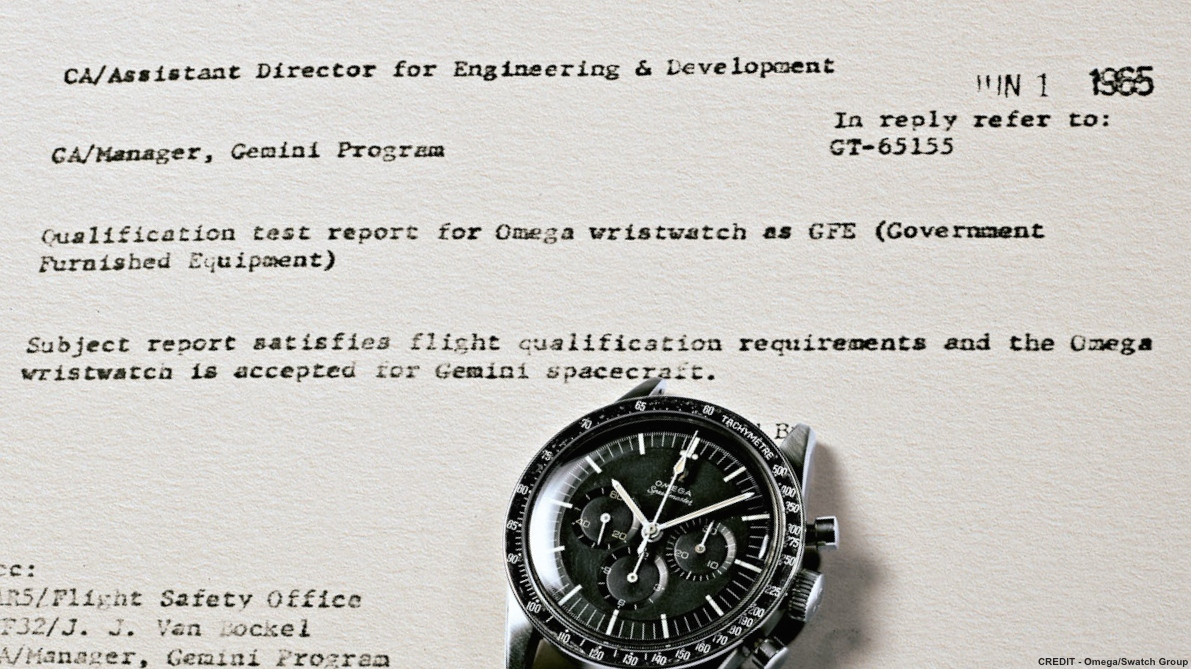 "From NASA's Gemini Program documentation certifying the Speedmaster 105.003: ""Subject report satisfies flight qualification requirements and the Omega wristwatch is accepted for Gemini spacecraft."" (Image: Omega)"