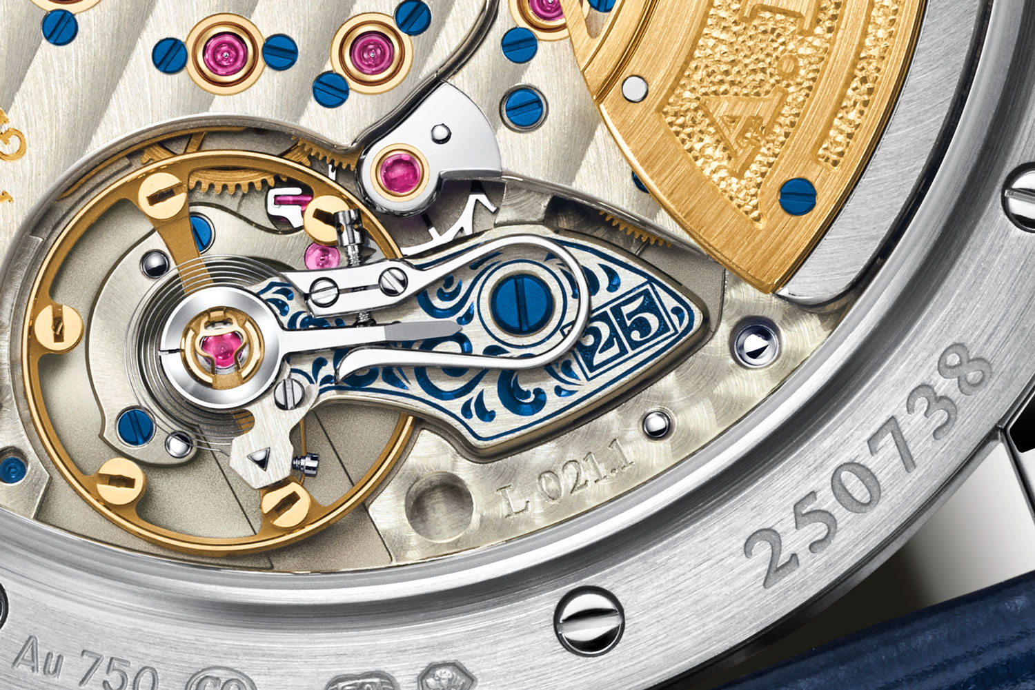 """The engraved balance cock on the Lange 1 Daymatic """"25th Anniversary"""""""