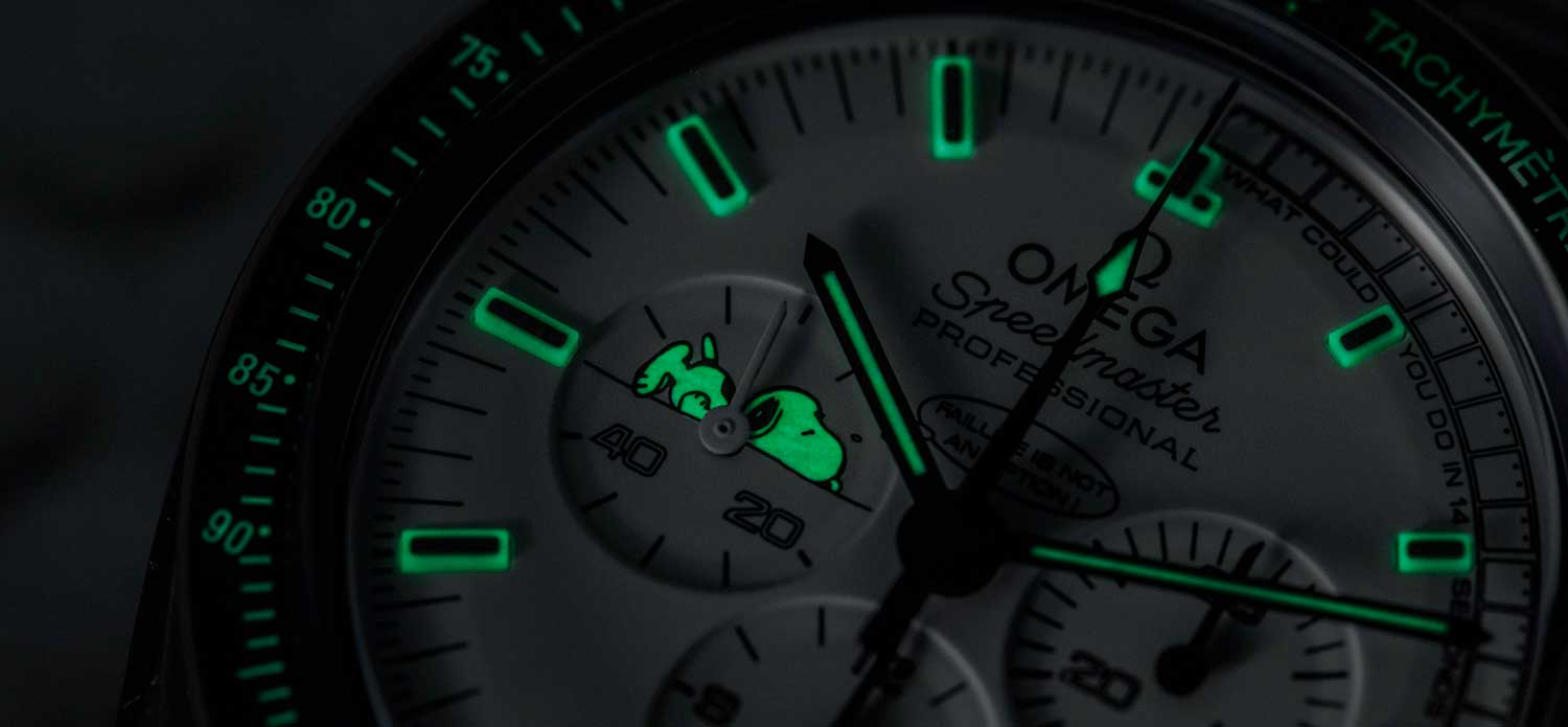Glowing lume on the 2015 Silver Snoopy Speedmaster (Image © Revolution)Snoopy (Image © Revolution)