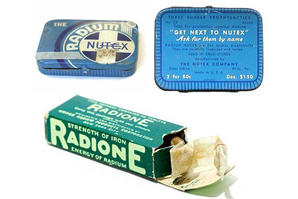 Radium condoms, one of many radium-based consumer products that touted miracle health properties of the radioactive element