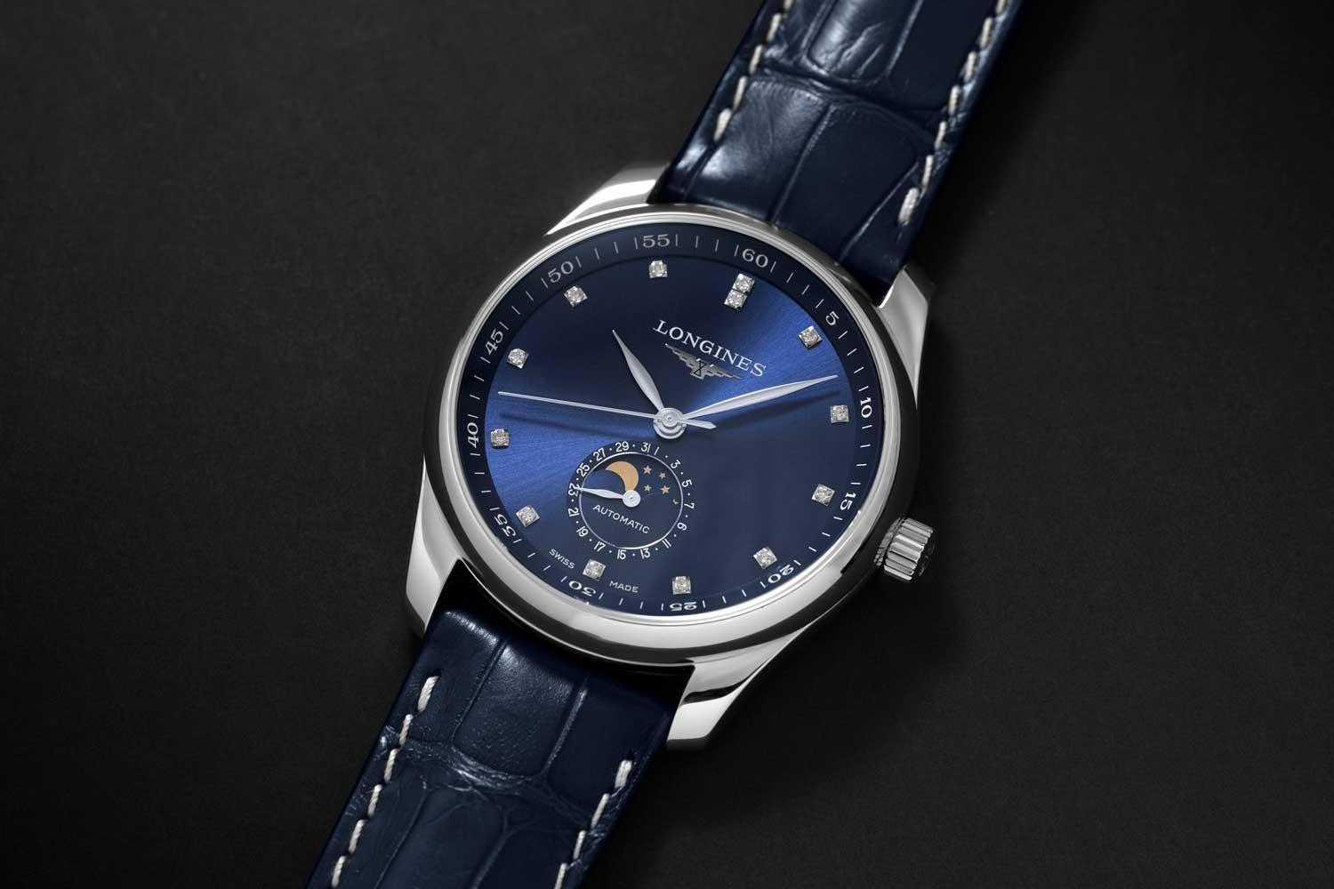 Longines Master Moon Phase in sunray blue version with applied indexes (Image © Revolution)