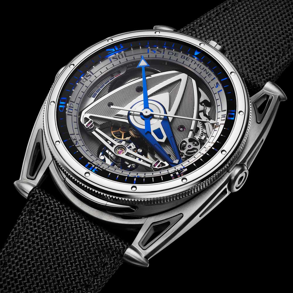 De Bethune DB28 GS Grand Bleu features unique lighting system created in collaboration with James Thompson of Black Badger Advanced Composites