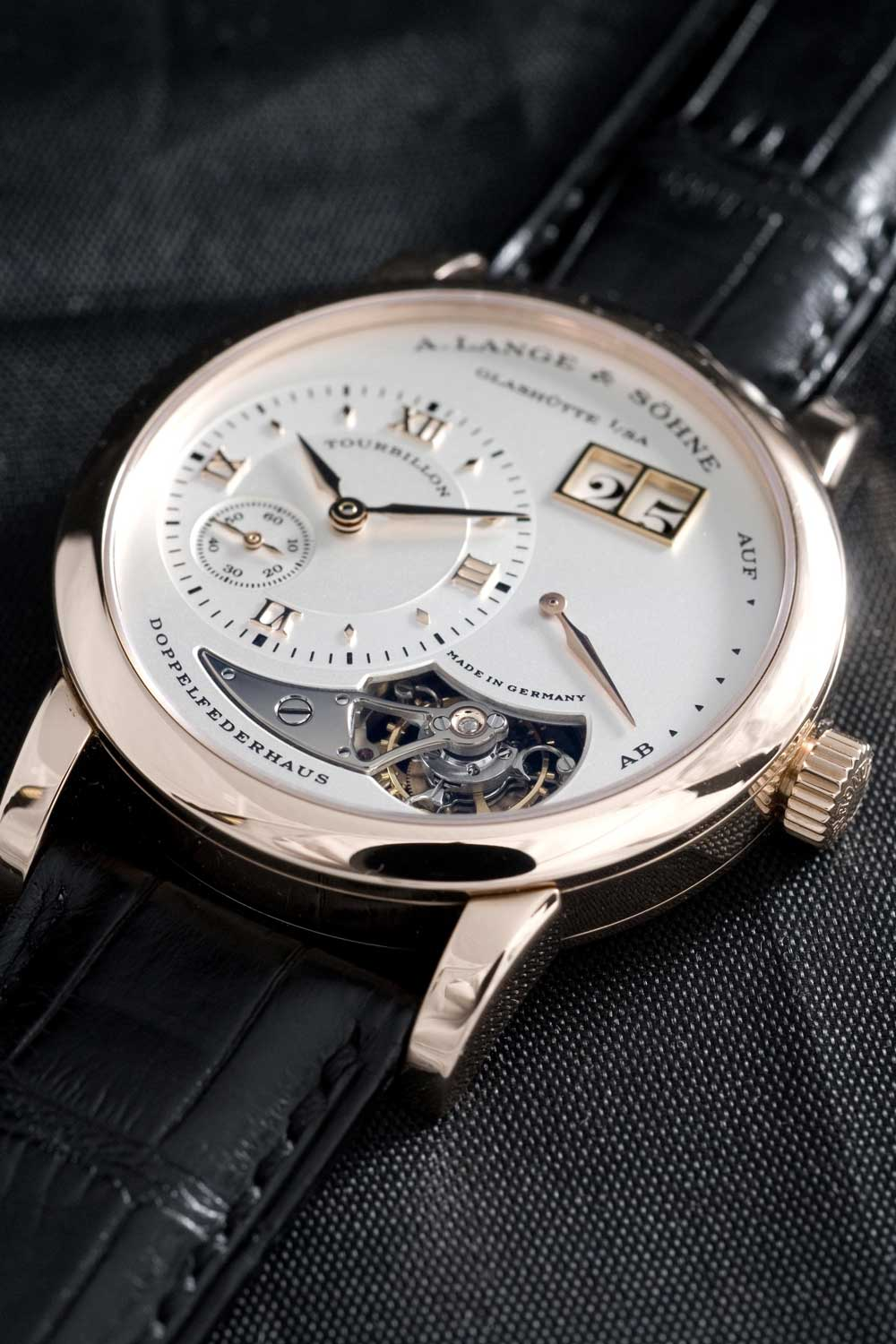 The Lange 1 Tourbillon, launched in 2000 in a limited edition of 150 in platinum and 250 in pink gold