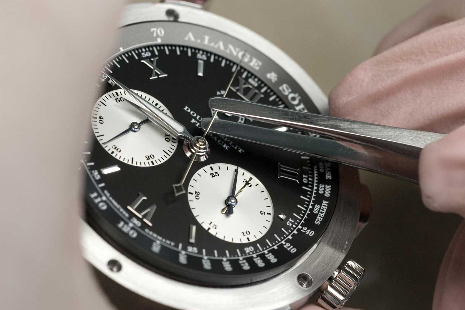 "After setting the hands, the movement of the Double Split Chronograph is encased in its ""house"" made of platinum"