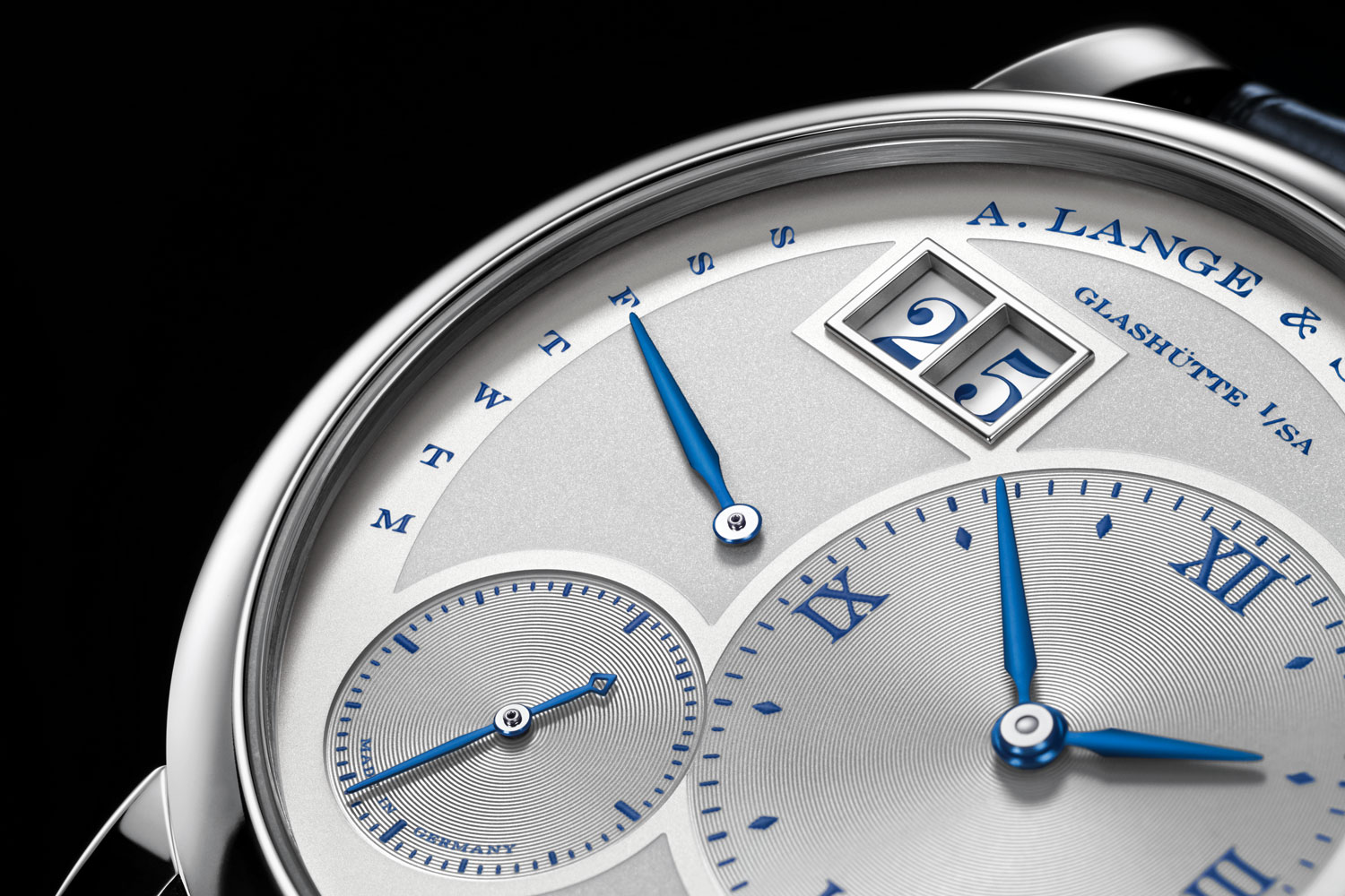 """The Day indicator the dial of the Lange 1 Daymatic """"25th Anniversary"""""""