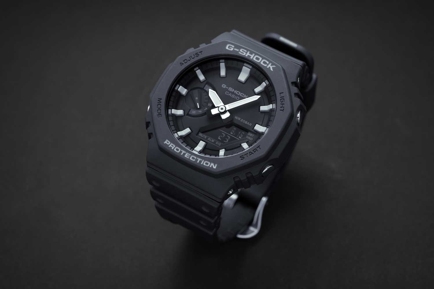 The Casio G-Shock GA-2100 in black with grey accents (Image © Revolution)