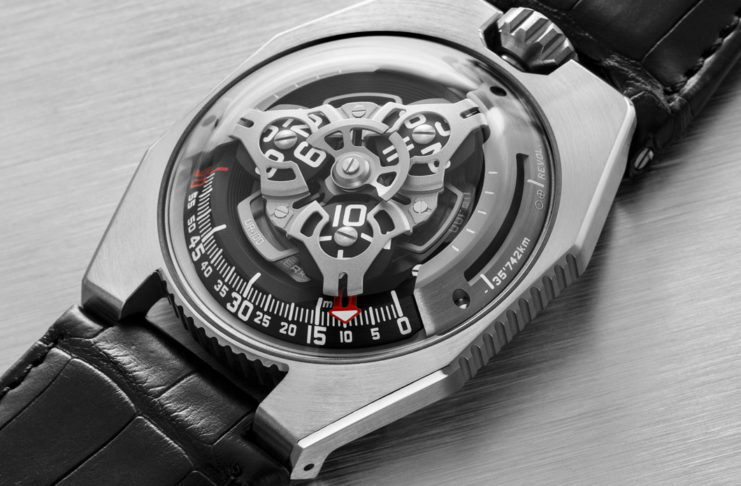 The URWERK UR-100 SpaceTime — Iron (Image © Revolution)