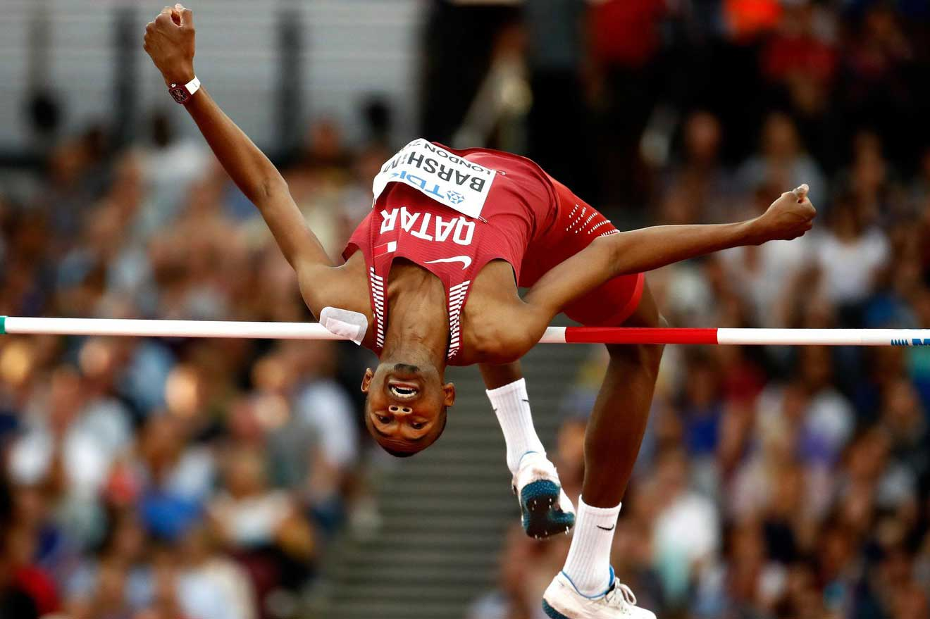 LONDON, ENGLAND - AUGUST 13: Mutaz Essa Barshim of Qatar competes in the Men's High Jump final during day ten of the 16th IAAF World Athletics Championships London 2017 at The London Stadium on August 13, 2017 in London, United Kingdom. (Photo by Andy Lyons/Getty Images for IAAF)