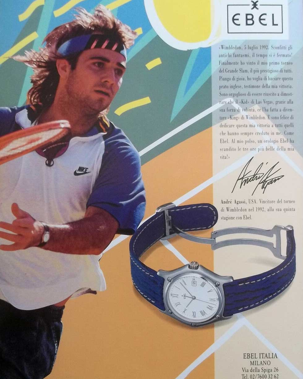 Andre Agassi on an Ebel ad, showing the watch he wore while on court