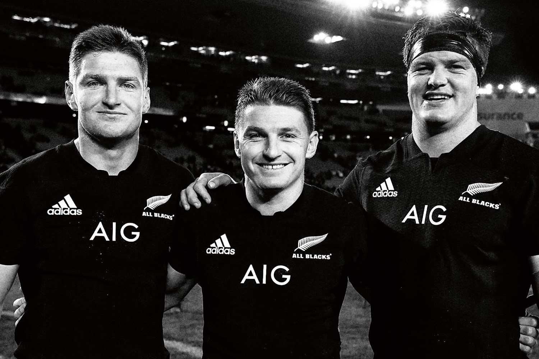 (From left) Jordie, Beauden and Scott Barrett make history in the 2017 match against Samoa