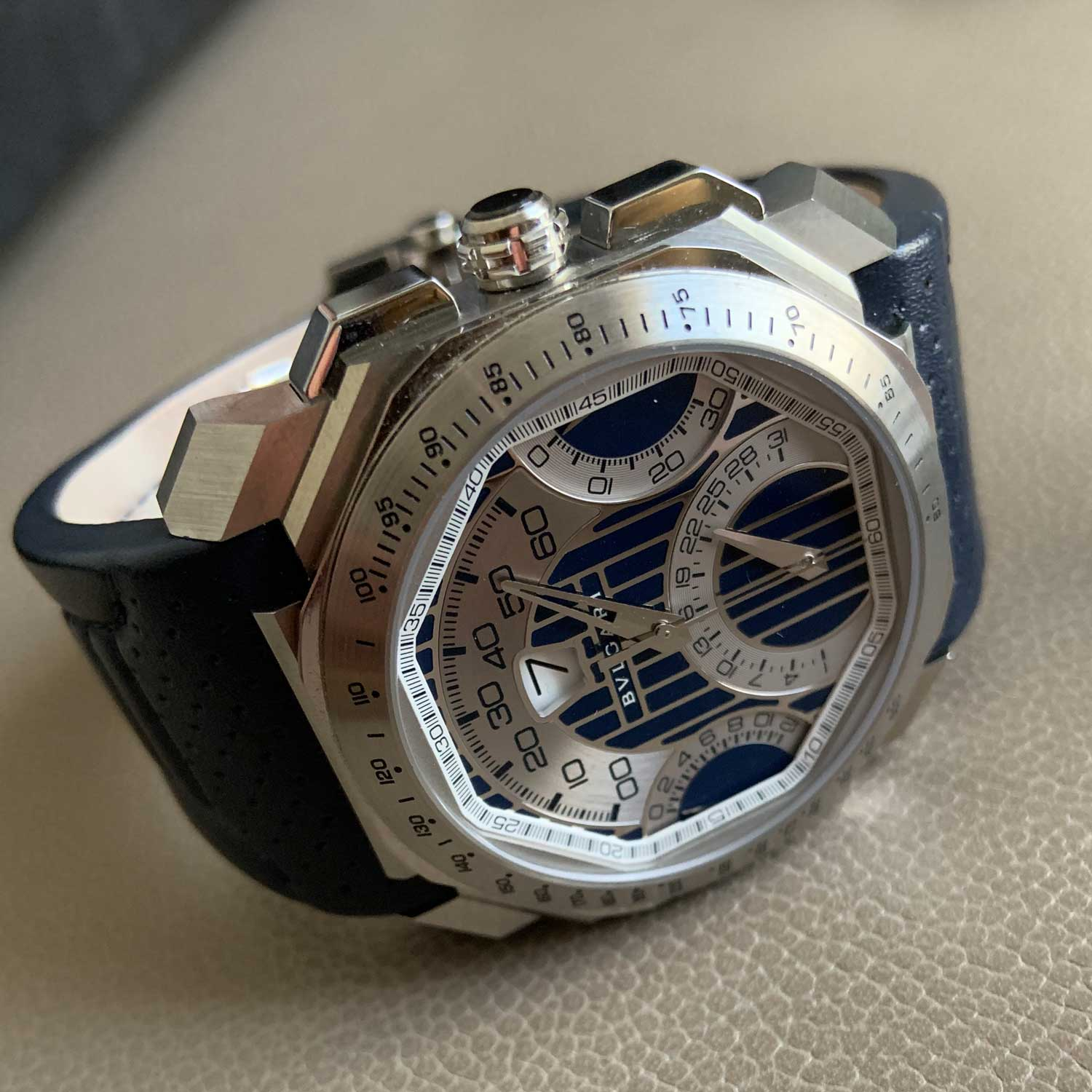 Lot 13: Bulgari Octo Quadri-Retro Maserati, Ref. BG045SCHQR/MAS stainless steel retrograde chronograph wristwatch with jump-hour display and date, circa 2012