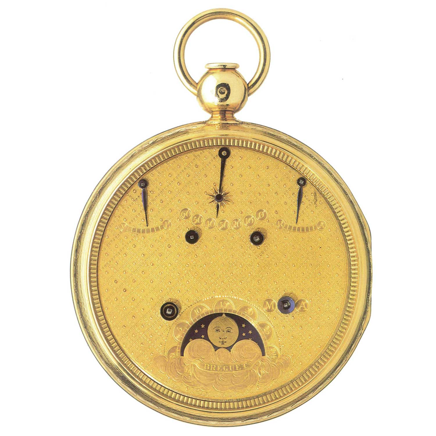 Double-sided Breguet watch, Grand Complication No. 92. On the white enamel dial are indicators showing the day, date and month, as well as equation of time