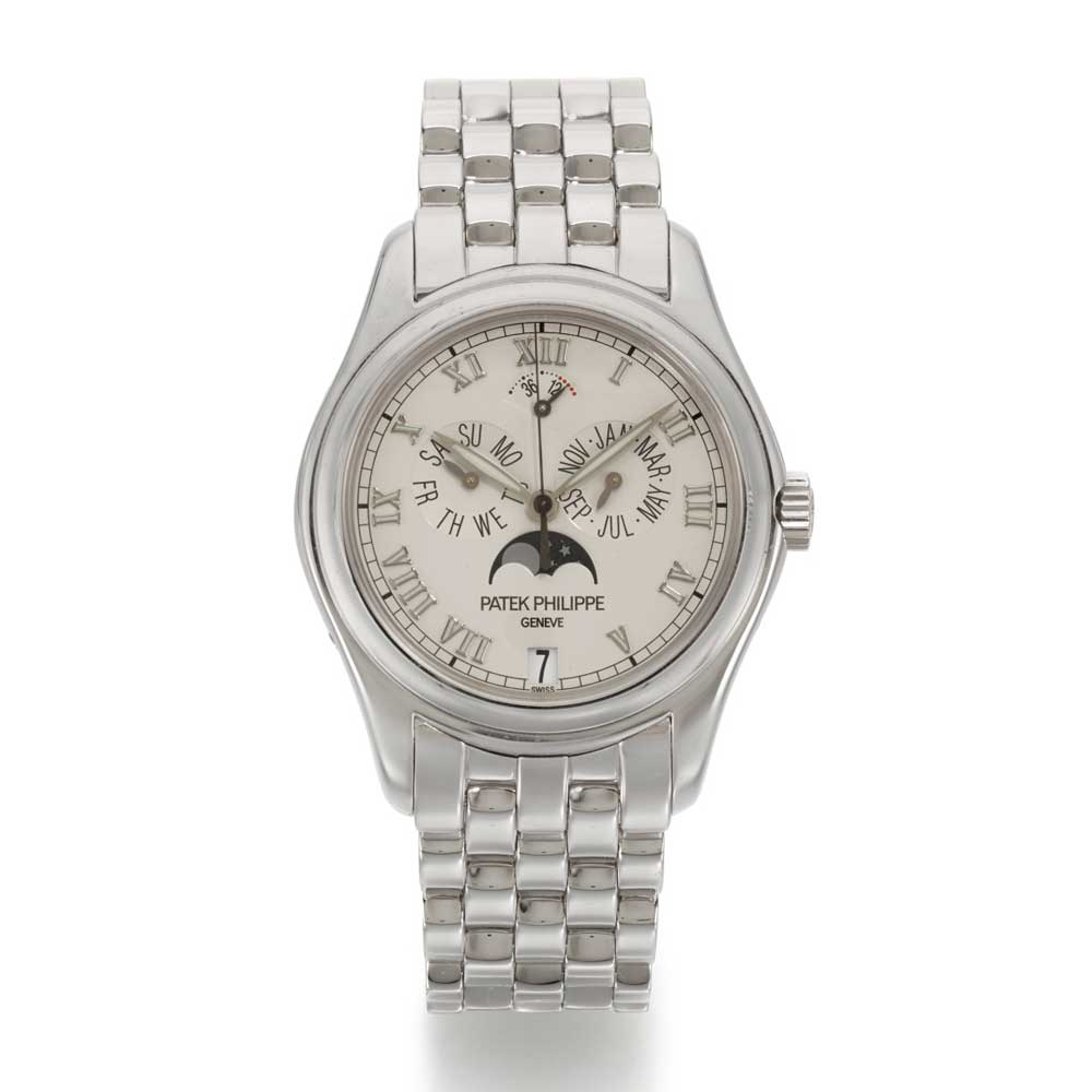 Lot 133: Patek Philippe, Ref. 5036/1G white gold annual calendar wristwatch with moonphase and power reserve indication, made in 2003