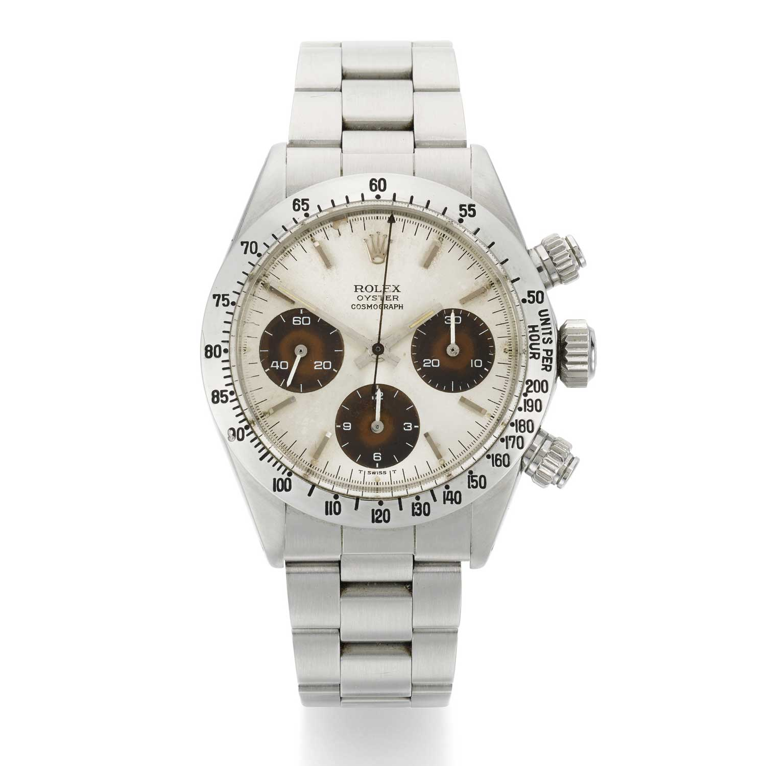 Lot 125: Rolex Daytona, Ref. 6265 stainless steel chronograph wristwatch with tropical dial and bracelet, circa 1972