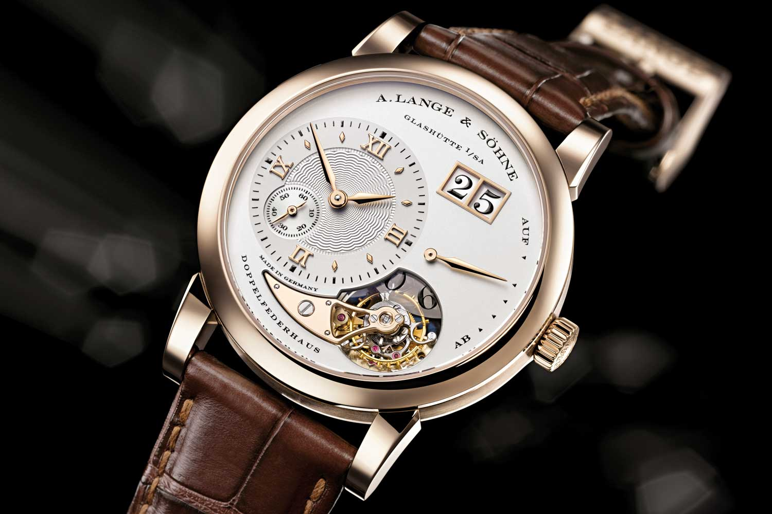"The Lange 1 Tourbillon reference 722.050 ""165 Years – Homage to F.A. Lange"" in honey gold launched in 2010 (limited to 150 pieces)"