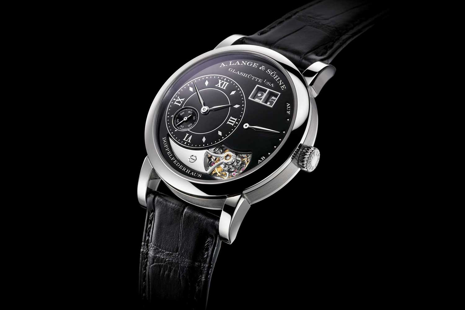 The Lange 1 Tourbillon Handwerkskunst reference 704.048 with a black-enamelled white gold dial (limited to 20)