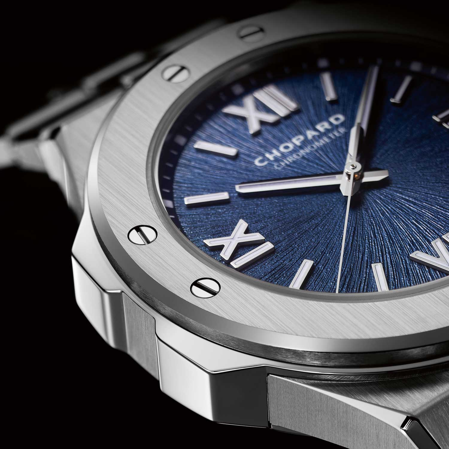 The Alpine Eagle in twice forged stainless steel with a marine blue dial