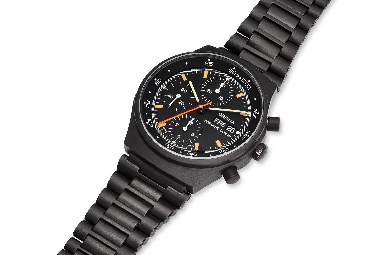 Orfina chronograph by Porsche Design driven by the 7750 (Image: Christie's)