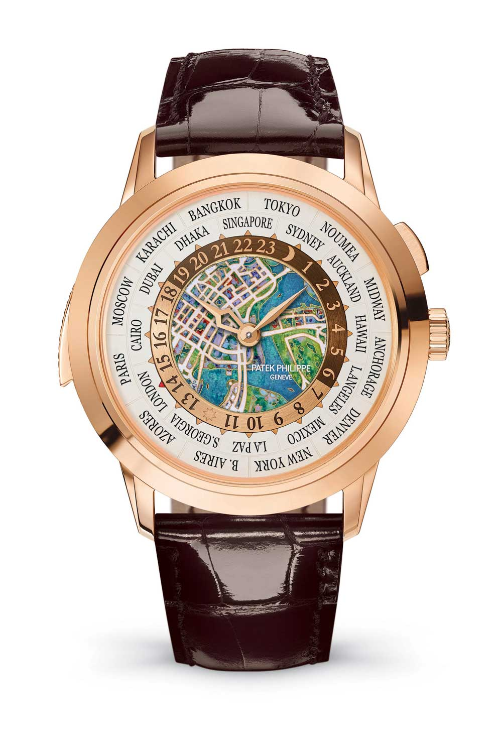 Ref. 5531 – World Time Minute Repeater Singapore 2019 Special Edition. An exclusive version with a map of Singapore in cloisonné enamel. Limited to 5 pieces.