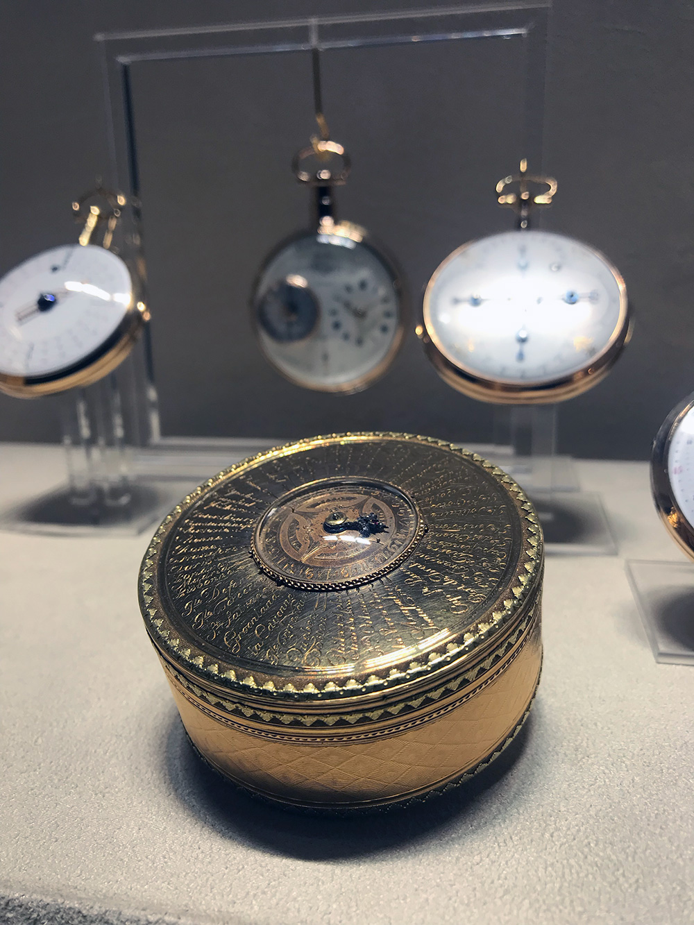 The Candy Box with watch and universal hours indicating local time of 53 cities. Made in Geneva, Switzerland circa 1780