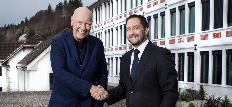 Jean-Claude Biver, President du pole horloger du groupe LVMH (Zenith, Hublot, TAG Heuer) et Julien Tornare, CEO de Zenith. Le Locle, 2 Mai 2017 © Fred Merz | Lundi13