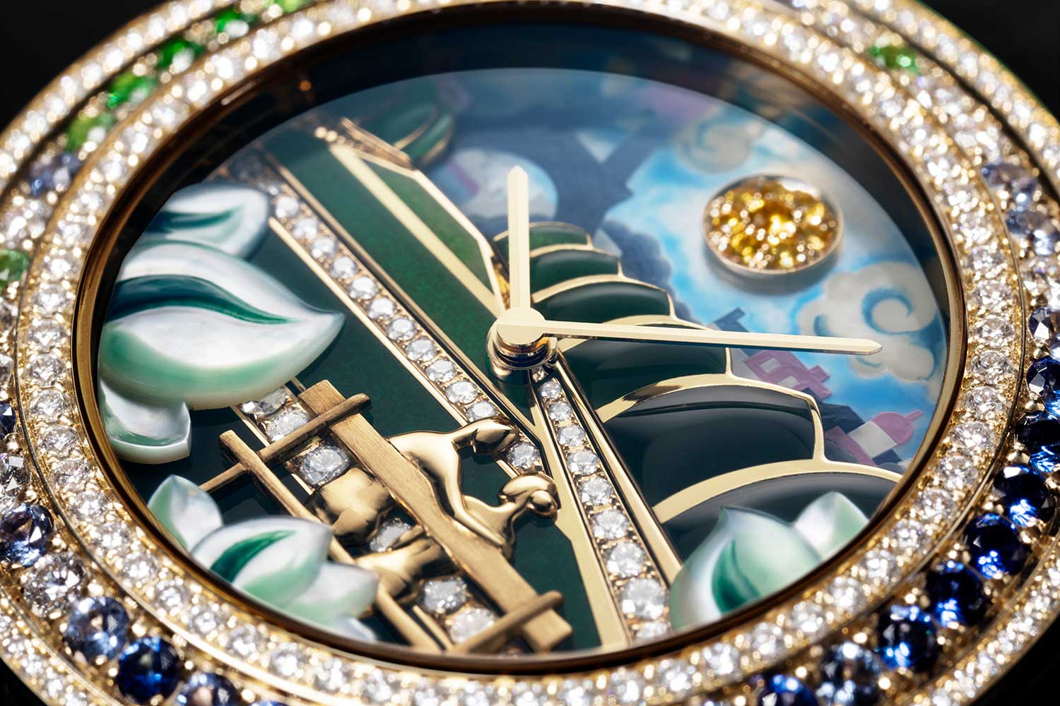 One of the pieces in the Extraordinary Dials collection presented sees the lovers unite on the dial with a combination of different artistic techniques. (Image shoy by Toh Si Jia for Revolution)