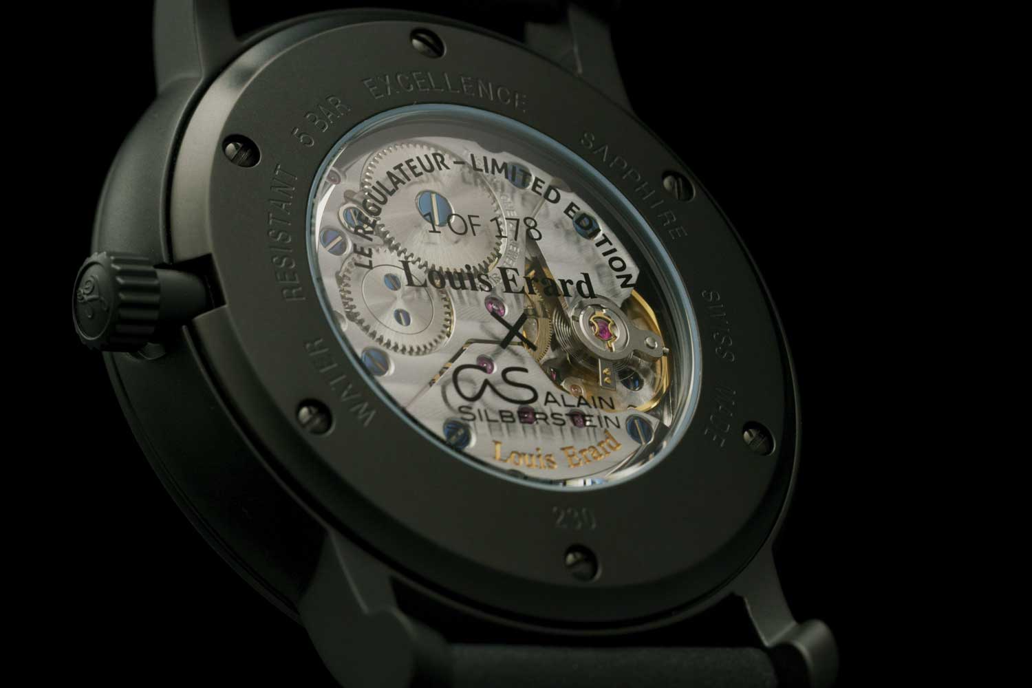Caseback of the Louis Erard x Alain Silberstein Excellence Regulator - Black PVD-Coated stainless-steel