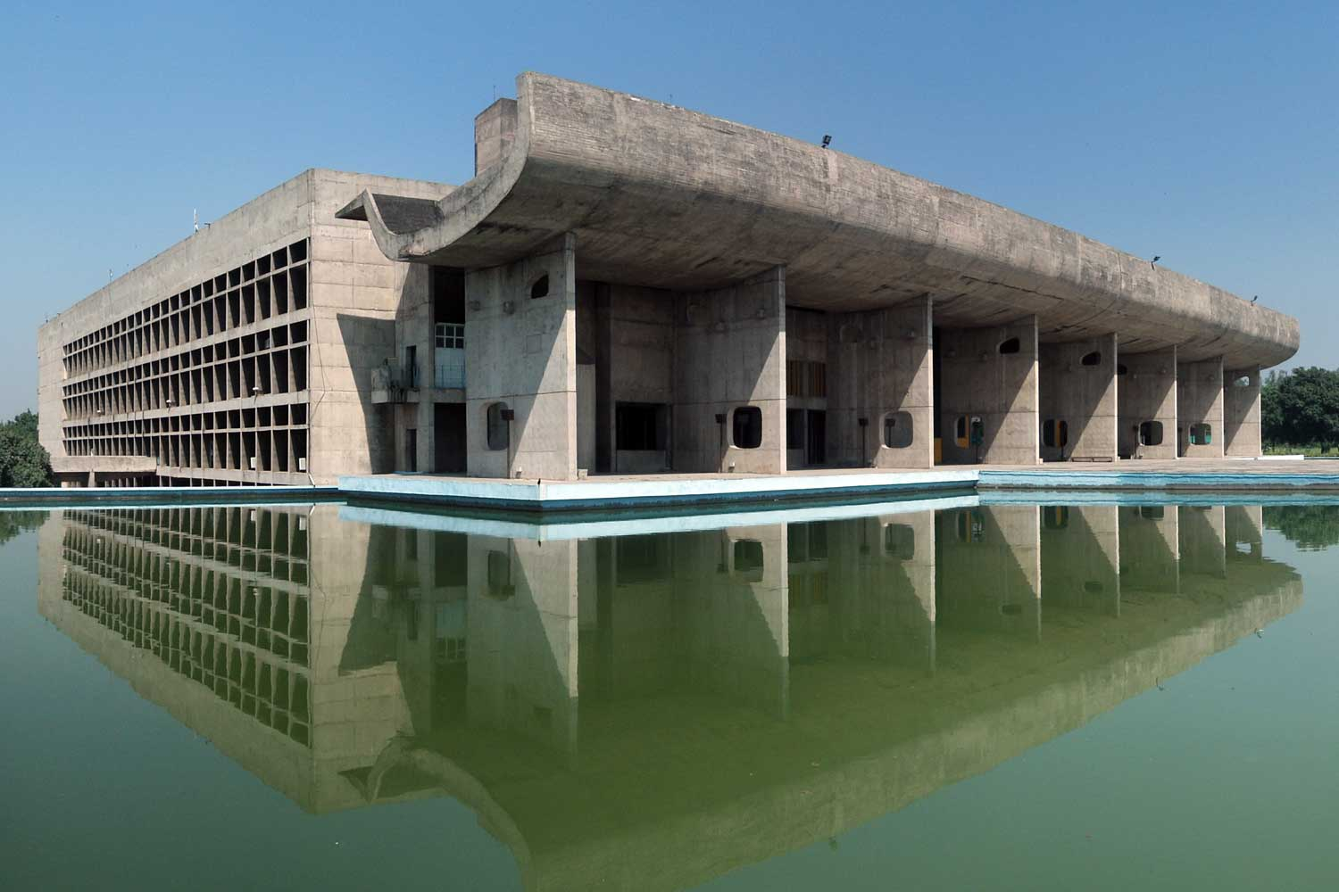 Palace of Assembly in Chandigarh, India; designed by Le Corbusier