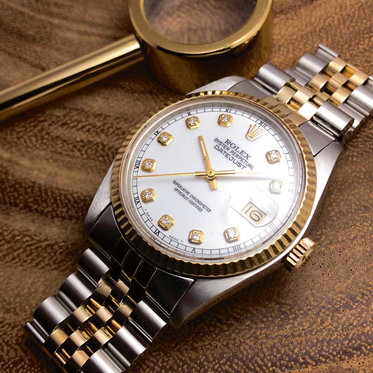 Two-tone Datejust with applied diamond hour markers
